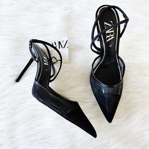 NEW Zara Mesh Black Pointed Toe Strappy Heels